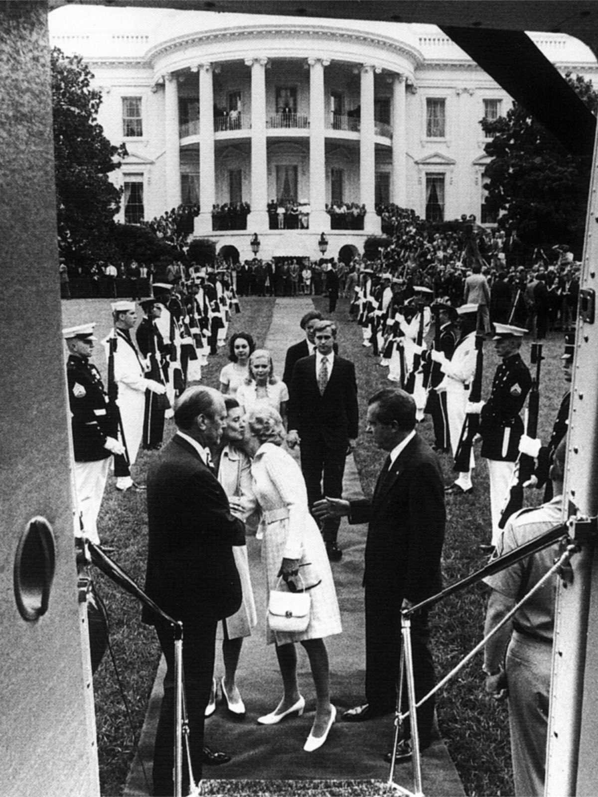Nixon leaves the White House for the last time, the first president ever to resign mid-term