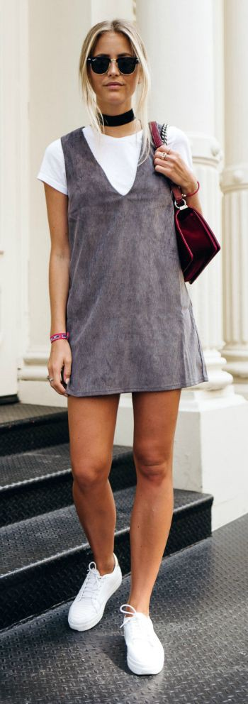 845f3a1fbba72 Photo Courtesy of Pinterest. You can't possibly wear a V-neck dress on its  own without revealing too much cleavage. So the basic top is here to save  ...