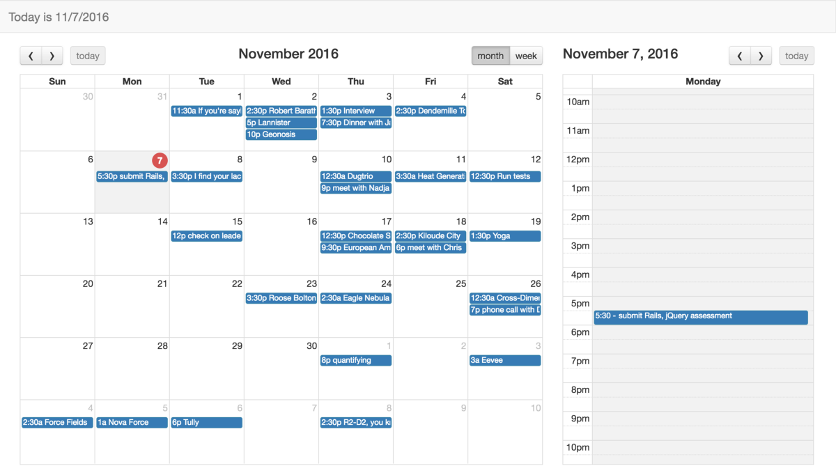 Weekly Calendar Java : Creating a calendar app using full javascript
