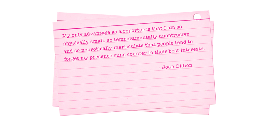 joan didion on keeping a notebook New topic on going home joan didion essay joan saint joan joan didion in her essay on keeping a notebook, joan didion describes why she thinks it's a good idea to make a record of the things that capture your attention and your attitude towards these things.