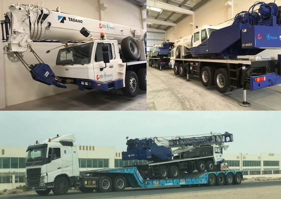 The four cranes stored in a UN warehouse in Dubai (upper left and right photos) were transported to the port on flatbed trucks. (lower photo). Photo credit: USAID/OFDA