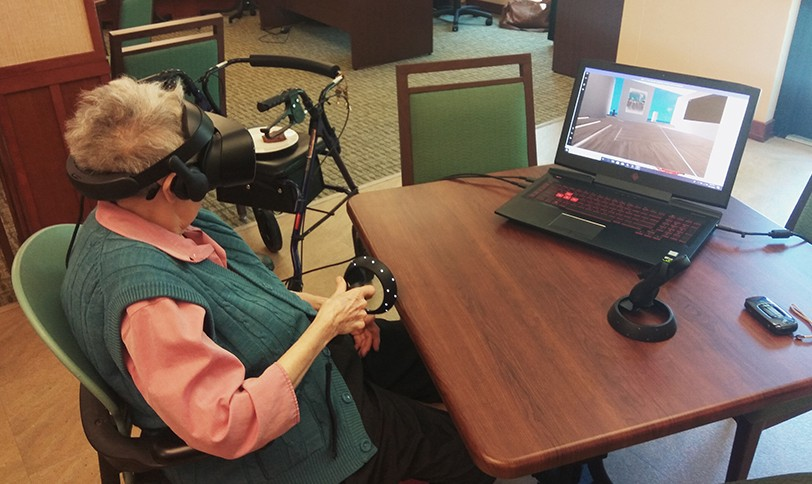 cd52bf7684e1 A customer using a mixed reality headset to help improve her cognitive and  memory functions. You might not associate video games ...