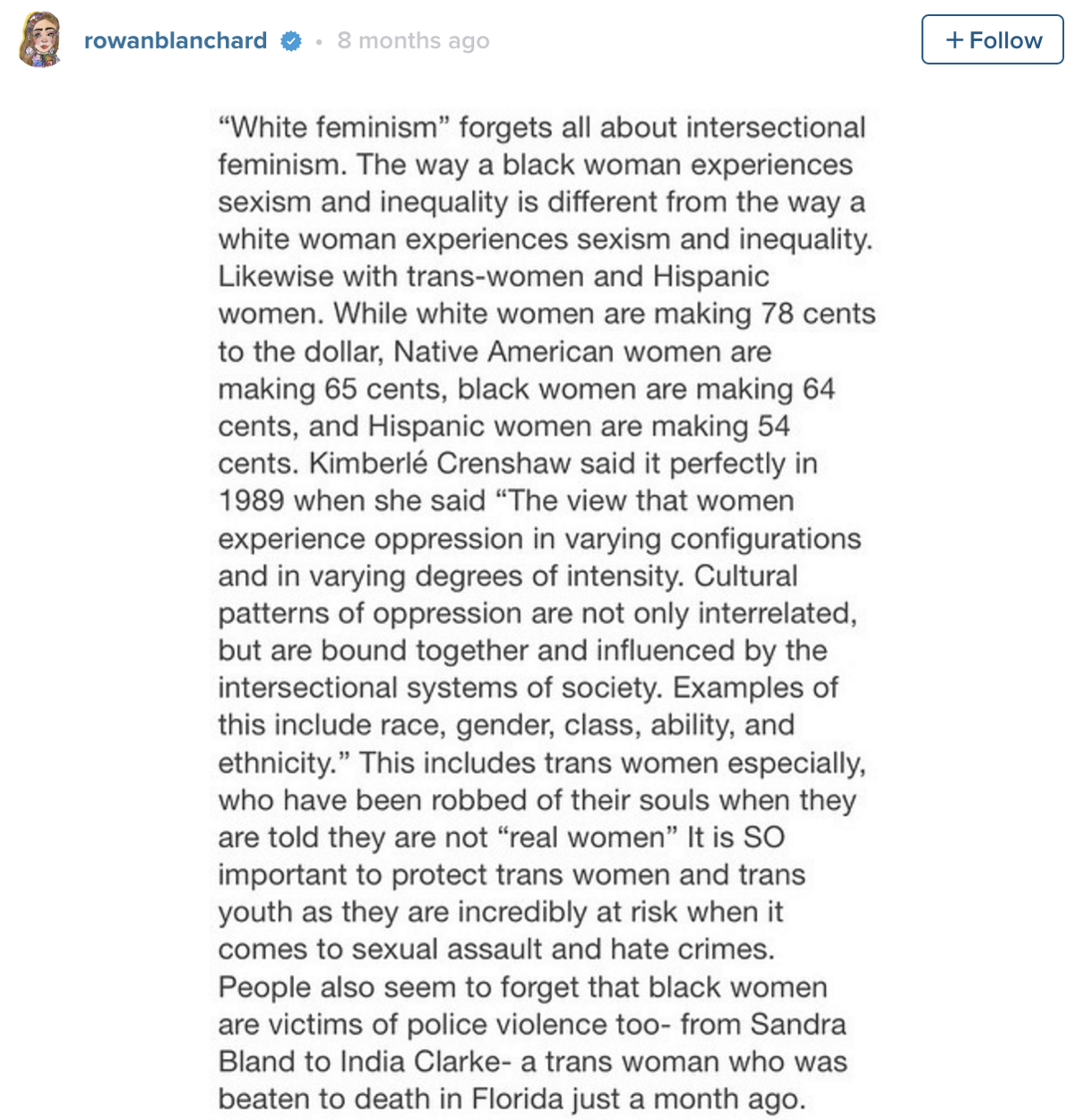 if you re over you re probably wrong about generation z  rowan blanchard photo by disney abc next to a screencap of her instagram essay on intersectional feminism written when she was 13
