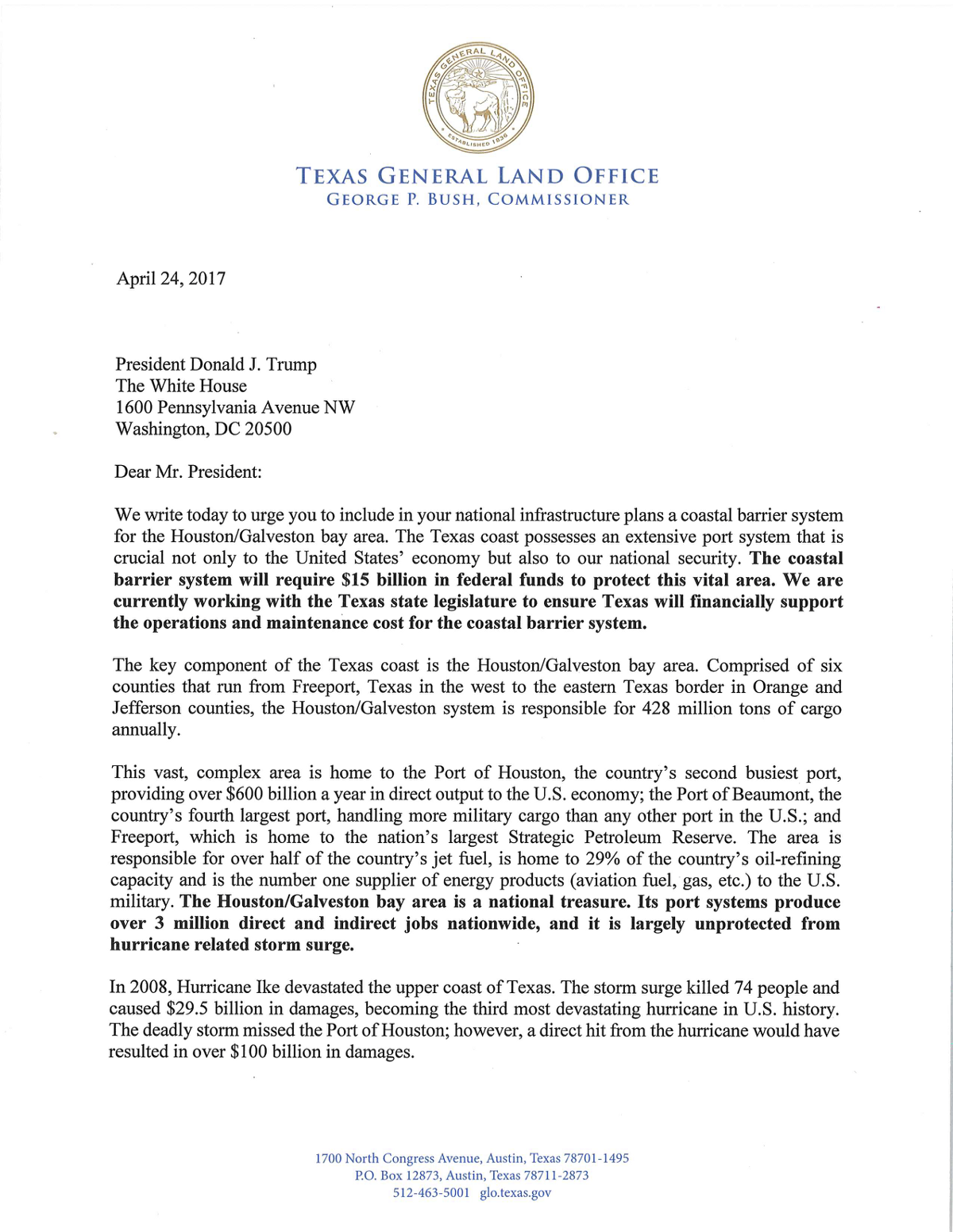A Letter to POTUS Trump from George P Bush and Texas Leaders