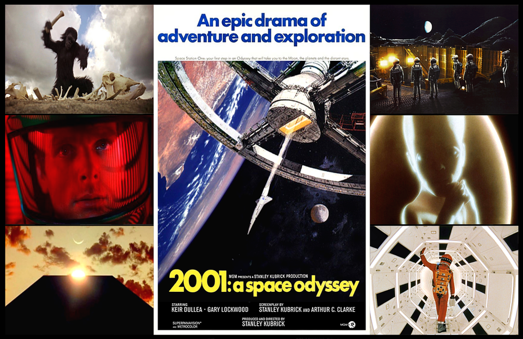 """520c6a3e9a Photograph of film poster with a display of scene images from """"2001: A Space  Odyssey""""."""