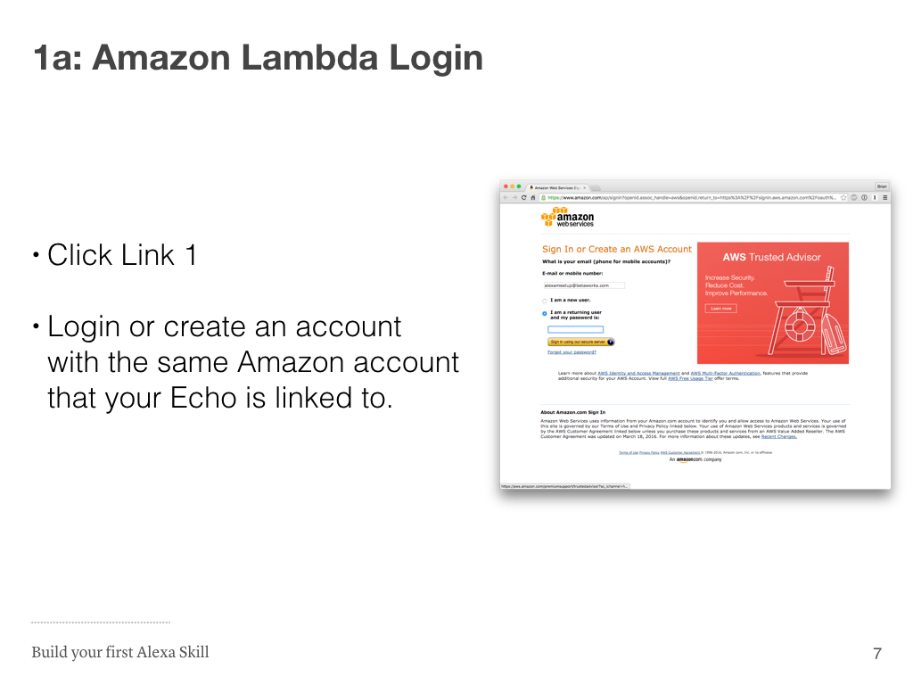 Step 1a: AWS Login