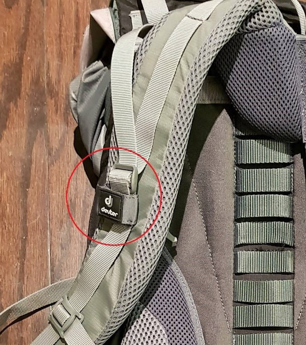 1f7f879d2d5 Straps to hold hydration tubes (left) and hidden pockets in the shoulder  straps and sternum strap buckles that are also whistles (right)