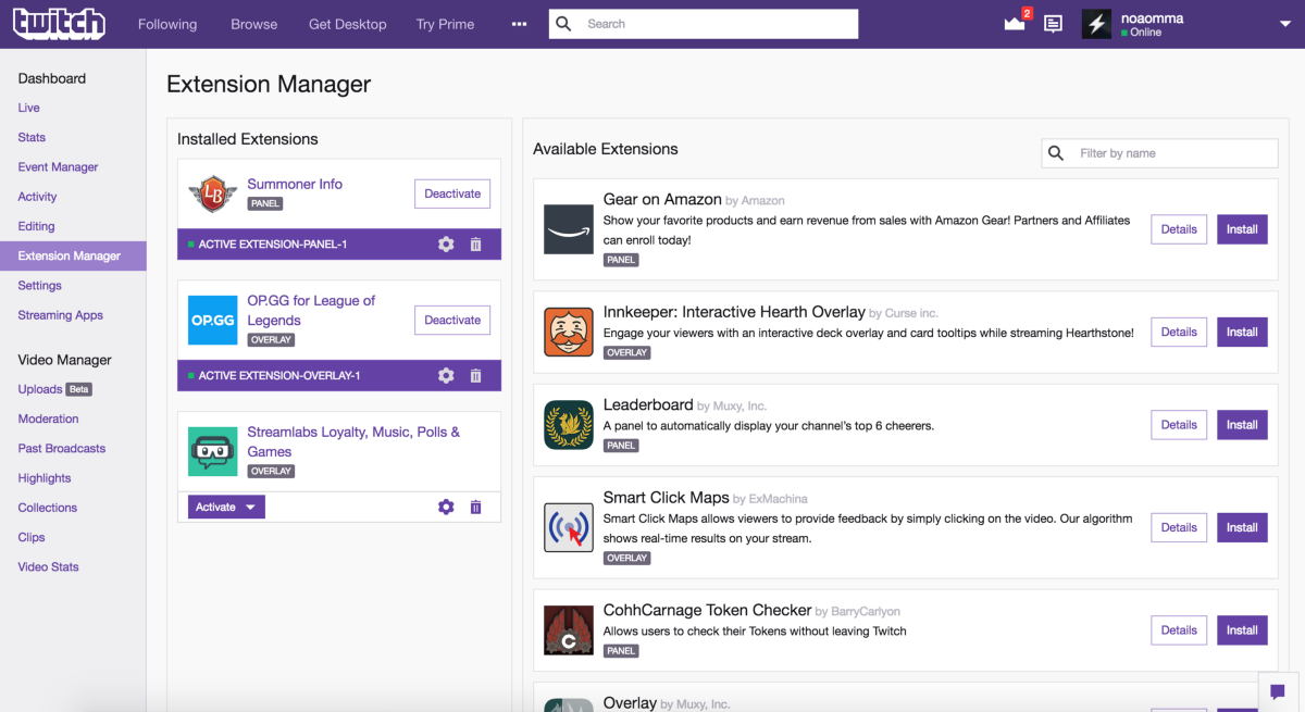 Twitch Extensions Manager