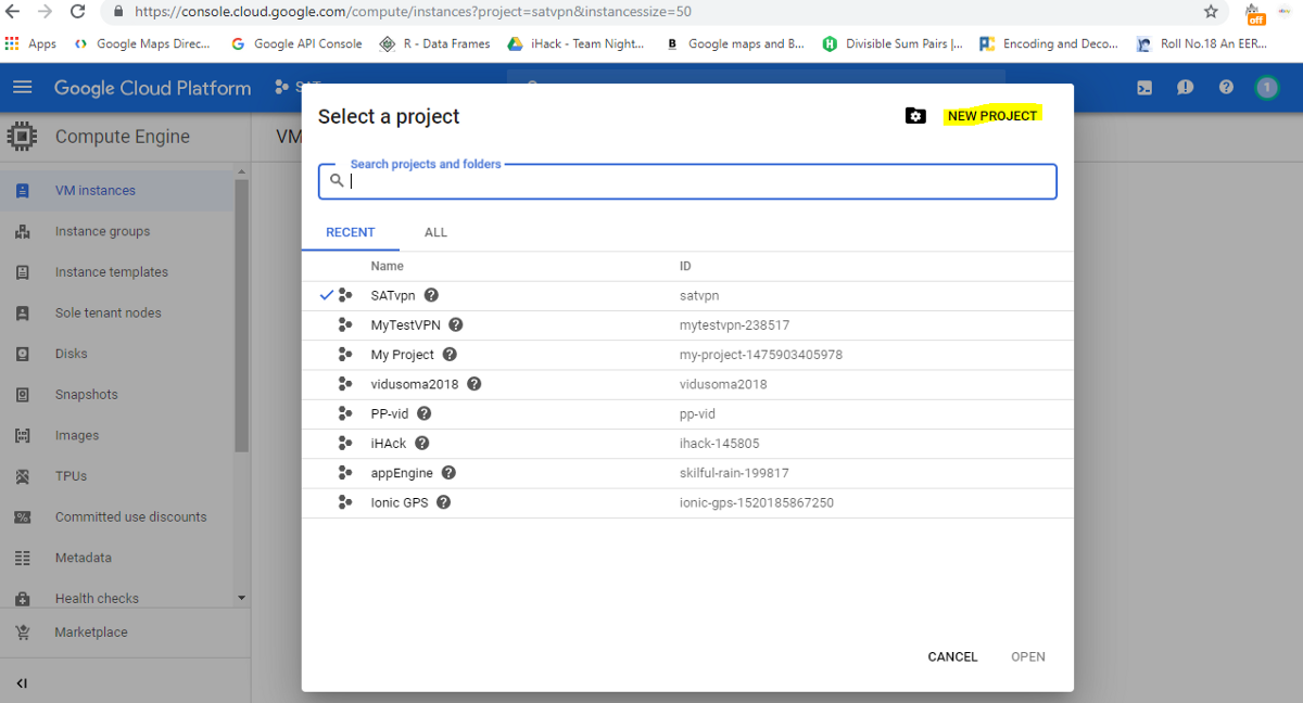 google cloud platform - select project