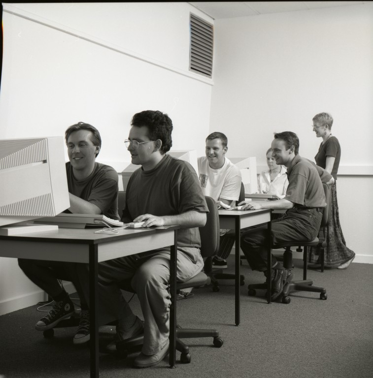 Dr David Henty and Dr Mario Antonioletti at the School of Physics. Image credit: The University of Edinburgh School of Physics and Astronomy Image Archive.