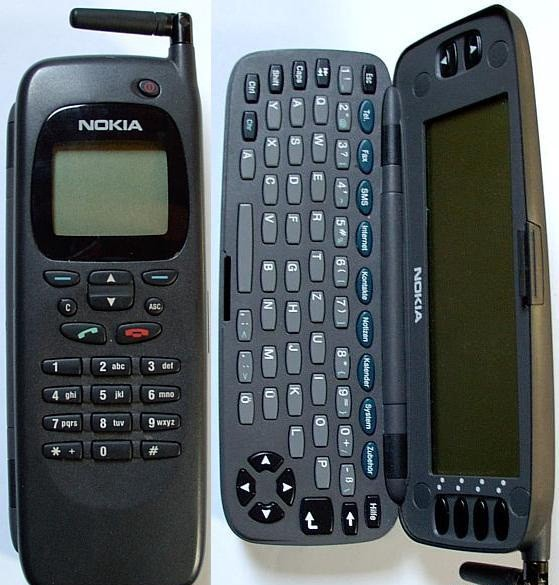 Nokia's 1996 9000 Communicator, both closed and opened to reveal its keyboard. Credit: Nokia