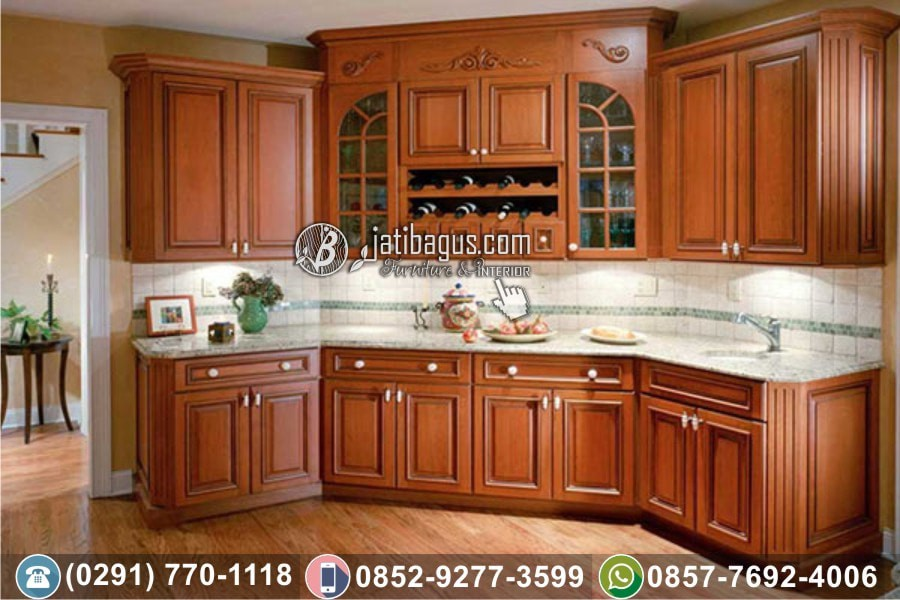 Jual Kitchen Set Minimalis Jati Asli Jatibagus Jepara Medium