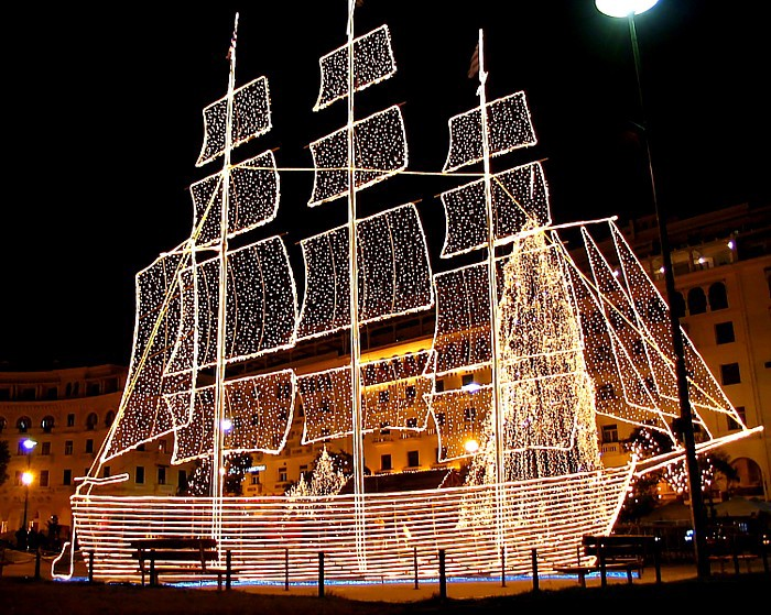 main aristotelous square alongside a huge christmas tree a big three masted sailing ship is put up this is an old tradition making a comeback in greek - Greek Christmas Traditions