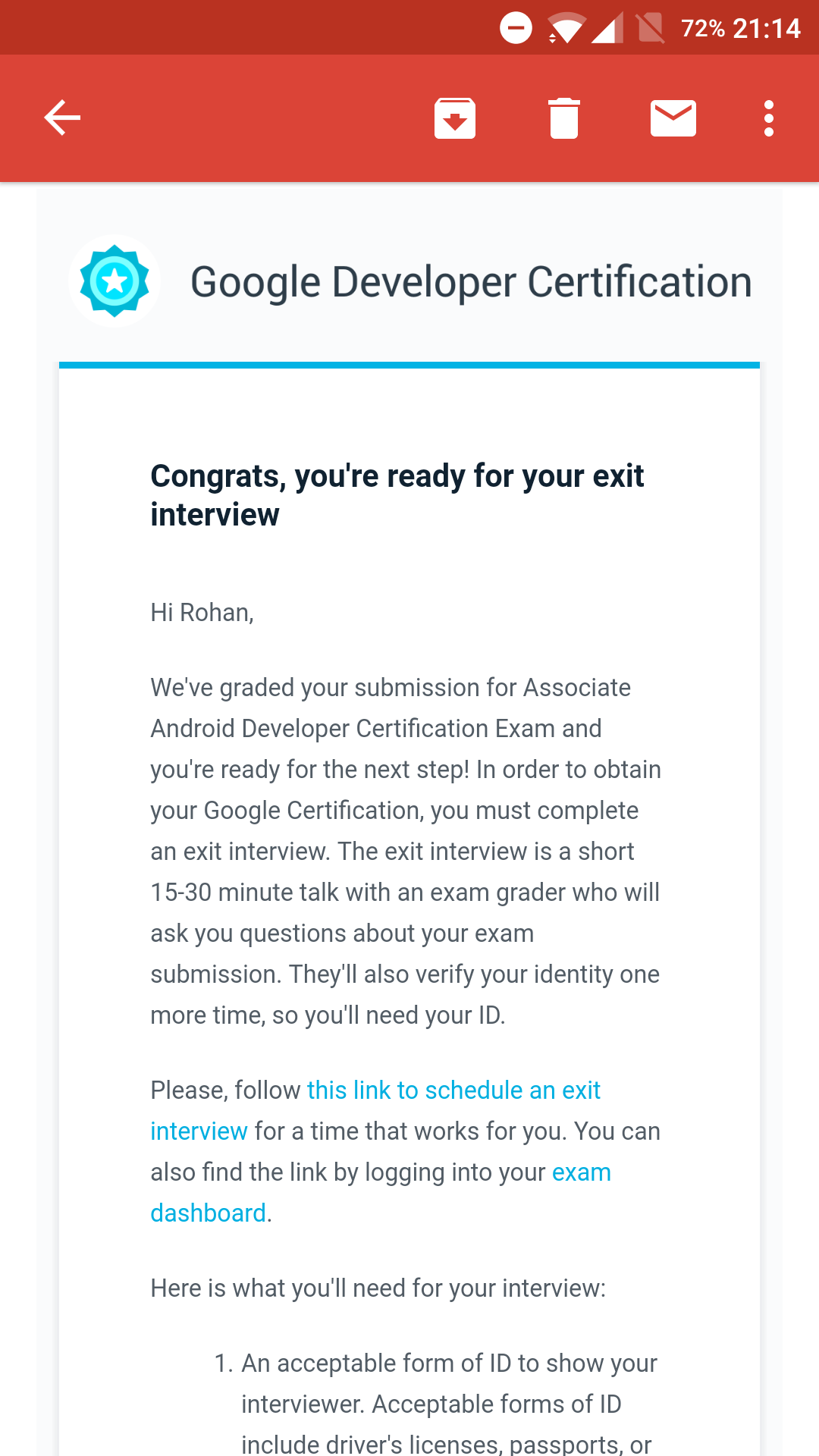 Google certified associate android developer exam walkthrough after clearing the coding exam i was asked to select an exit interview date 1betcityfo Image collections