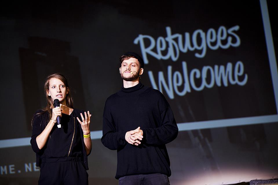 "The founders of ""Refugees Welcome International"" Mareike Geiling and Jonas Kakoschke presented their projects at the reSITE 2016 conference."