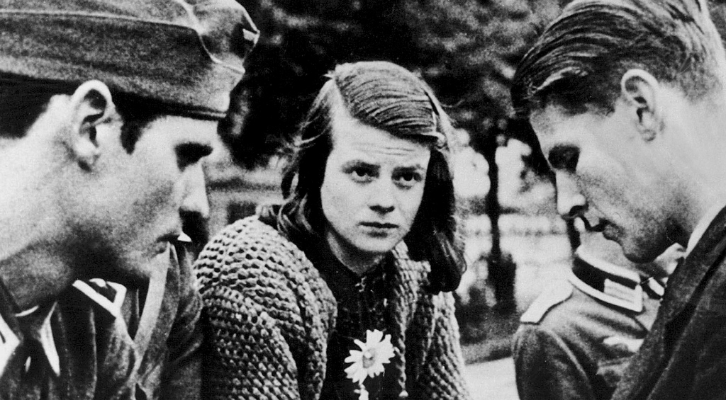 Sophie Scholl with her brother Hans and their friend and collaborator Christoph Probst in January 1943