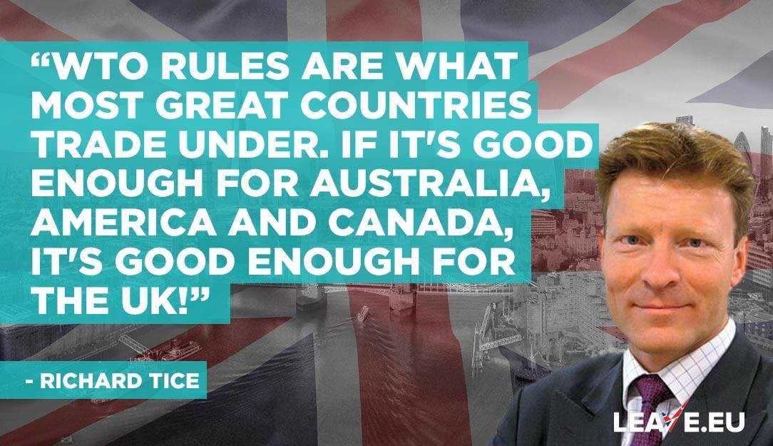 """4d6b6ba0ef EU shared an image sharing a claim made by Richard Tice. """"WTO rules are  what most great countries trade under. If it s good enough for Australia"""