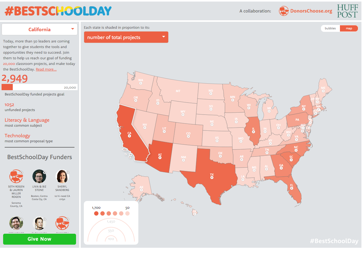 Mapping Donations To BestSchoolDay On The Huffington Post - Huffington post us election map
