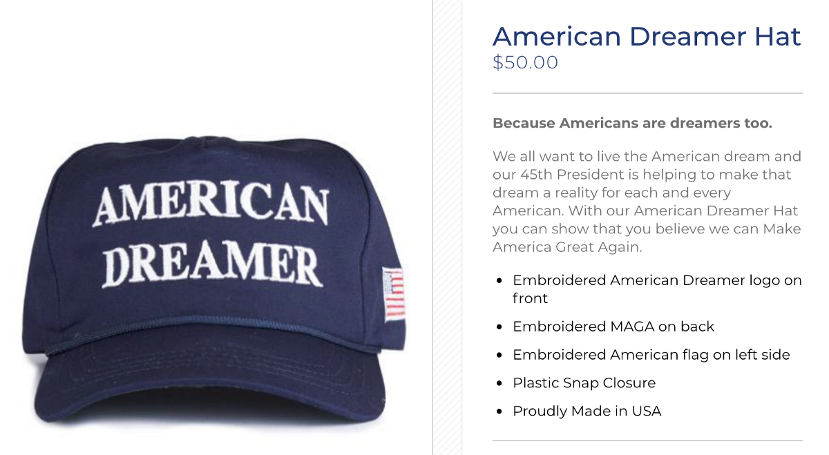 e9bc2cd2b1552 Even amongst the range of hats on donaldjtrump.com there is a creeping move  towards the sort of design you d more easily associate with the Trump who  was ...
