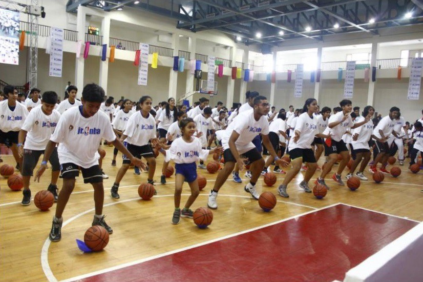 173b05b3c44 Indian students who are part of the NBA s Jr. NBA program take part in a  basketball lesson with NBA star Kevin Durant