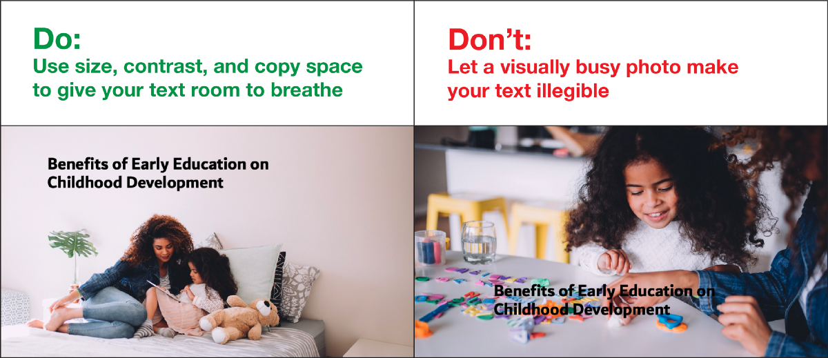 When you use stock photos for Powerpoint, be sure that there is enough copy space or solid-color white space so that you can add text without it interfering with the background.