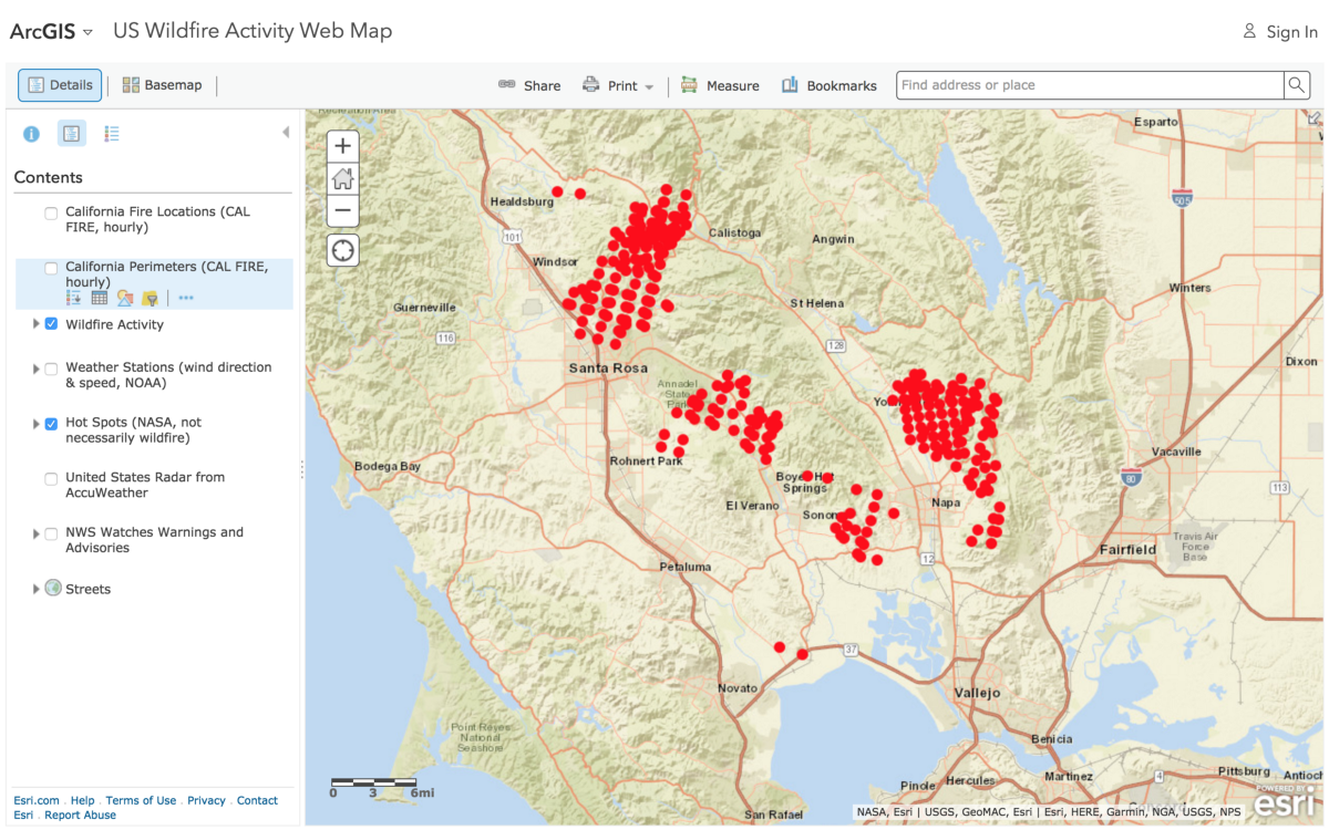 "arcgis online wildfire map use the ""show map contents"" button in upperright (second item) to reveal checkboxes for different information layers. in search of fire maps – greeninfo network"