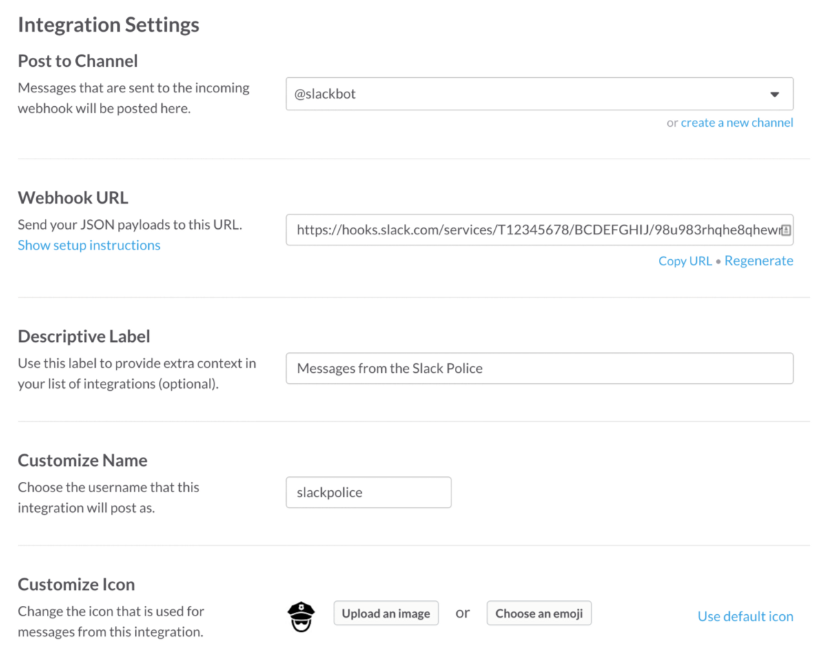 Learn aws api gateway with the slack police chris kalafarski once again start by creating a new integration for the incoming webhook what you choose for post to channel doesnt really matter nvjuhfo Choice Image
