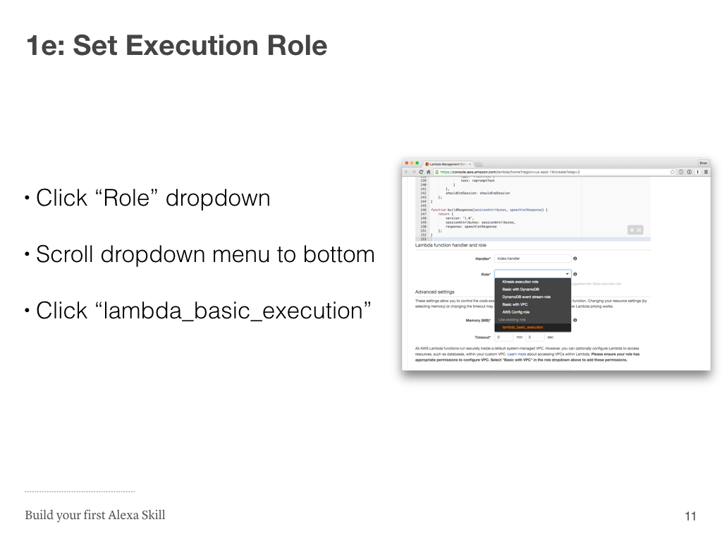 Step 1e: Set Execution Role