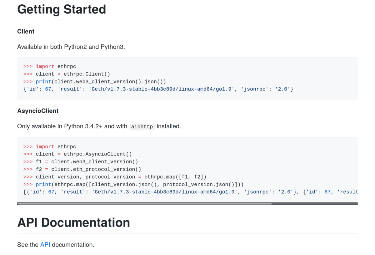 Python Ethereum RPC client is a Python client to communicate with