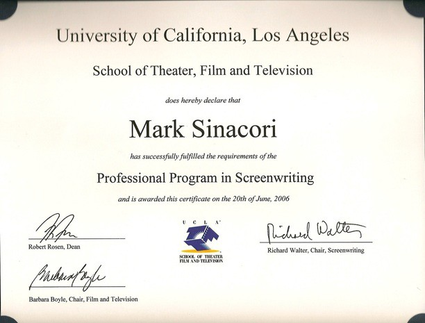 a professional screenwriting certificate from ucla after