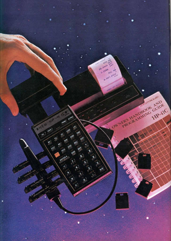 A magazine ad for the HP-41C, showing off its connectivity with other devices, such as a portable printer. (Photo credit: Hewlett-Packard, 1979).