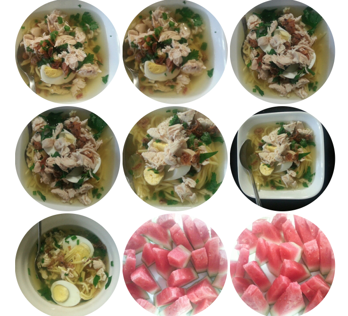 Chicken & Egg Noodle Soup with Fresh Watermelon Fruit Combo (a k a