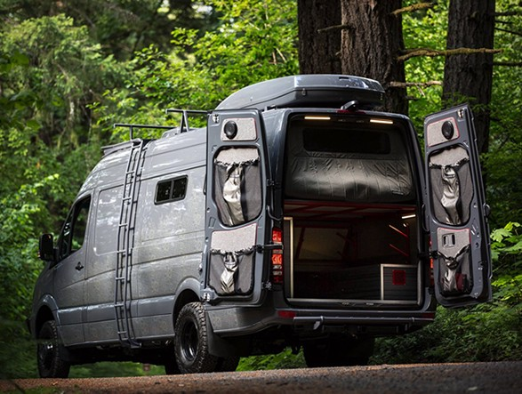 Outside Van's Valhalla is a 4x4 Adventure Mobile