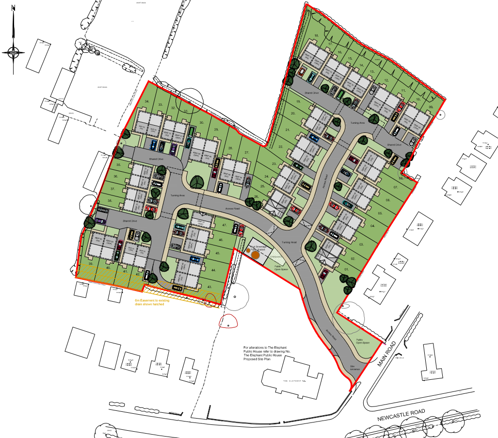Planning Application: 47 Houses At The Elephant And Castle Inn