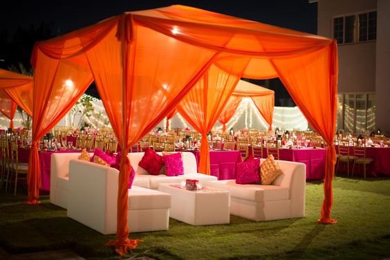Top indian wedding tent decoration booking events medium for Outdoor party tent decorating ideas