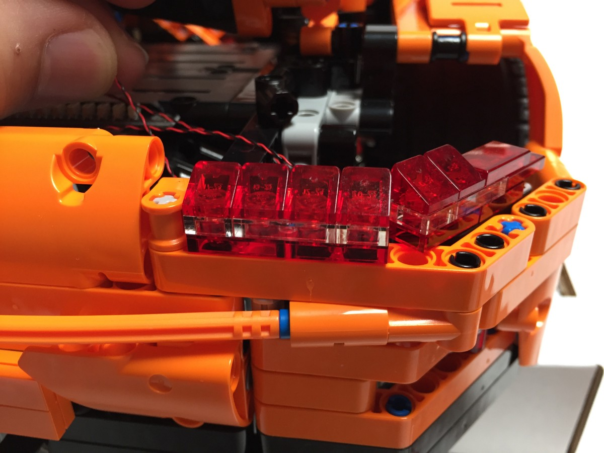 replace the transparent brake light pieces each white 15cm bit light led will sit comfortably inside the cavity of the lego plate being fixed on top of it