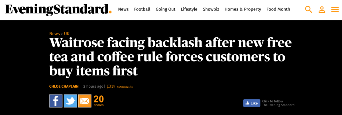 oh my god waitrose has stopped free coffee mike. Black Bedroom Furniture Sets. Home Design Ideas