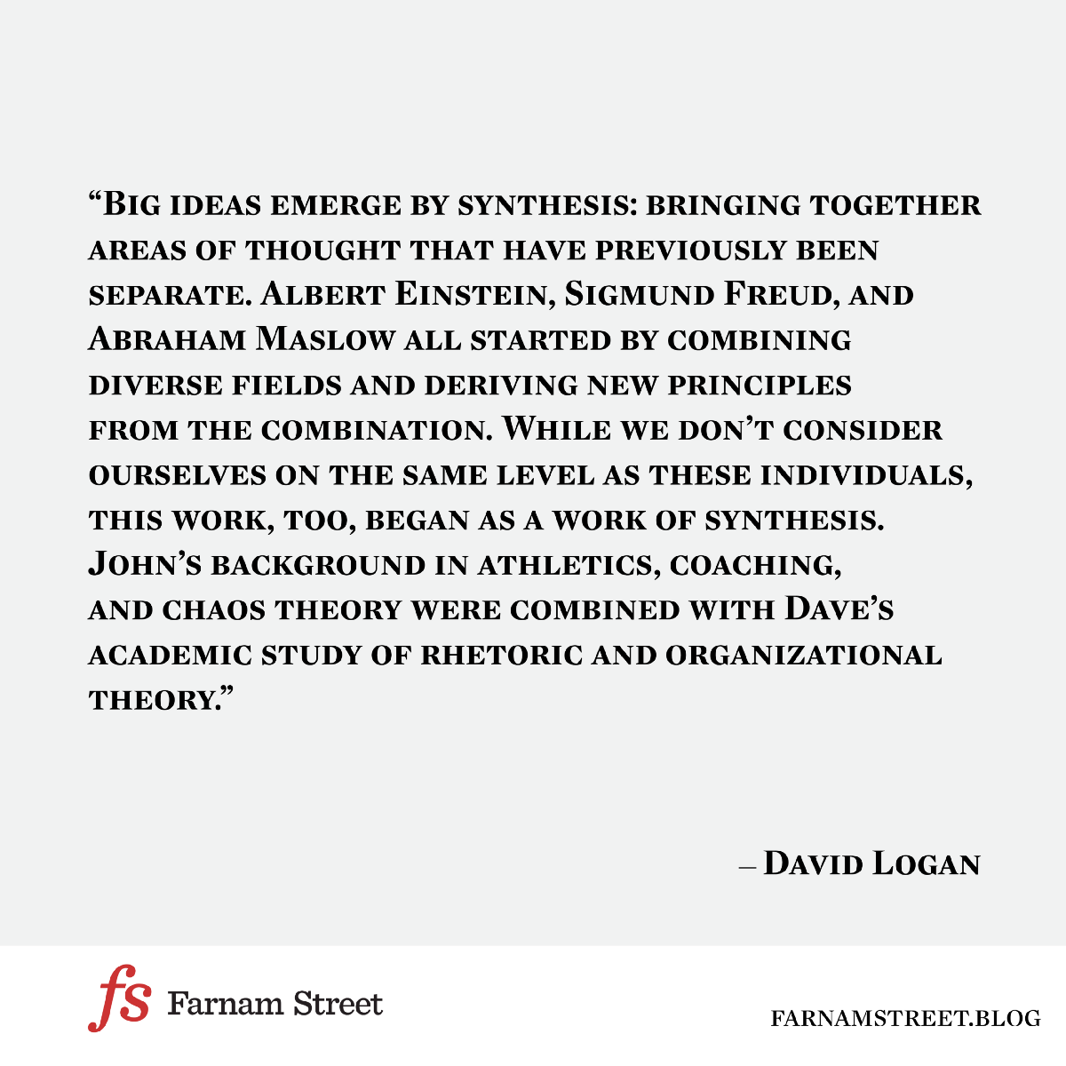 Big Ideas Emerge By Synthesis
