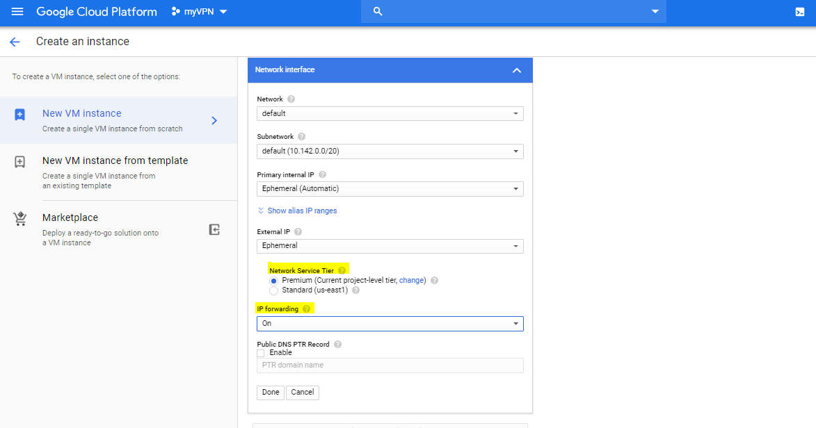 google cloud platform - vm network interface settings