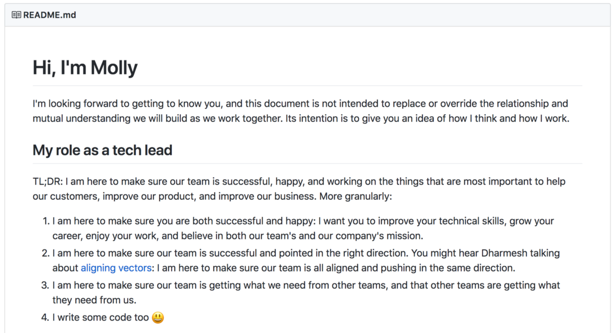 Manager README of Molly White, Tech Lead at HubSpot