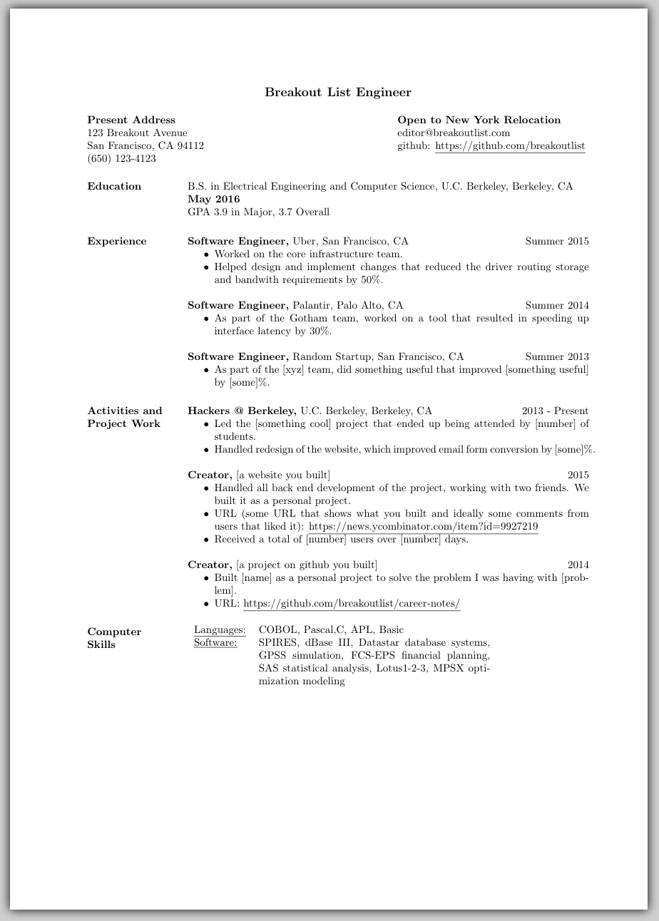Best engineer resume template (uses LaTeX) – Breakout List