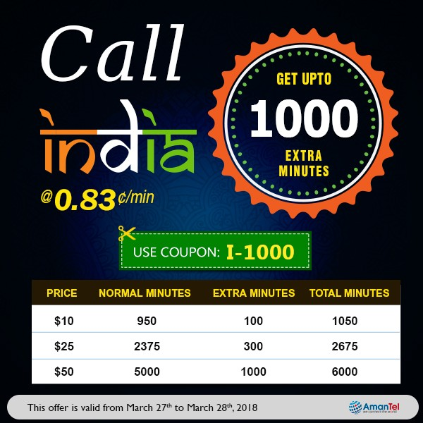 Save upto 1000 extra minutes while calling India from USA