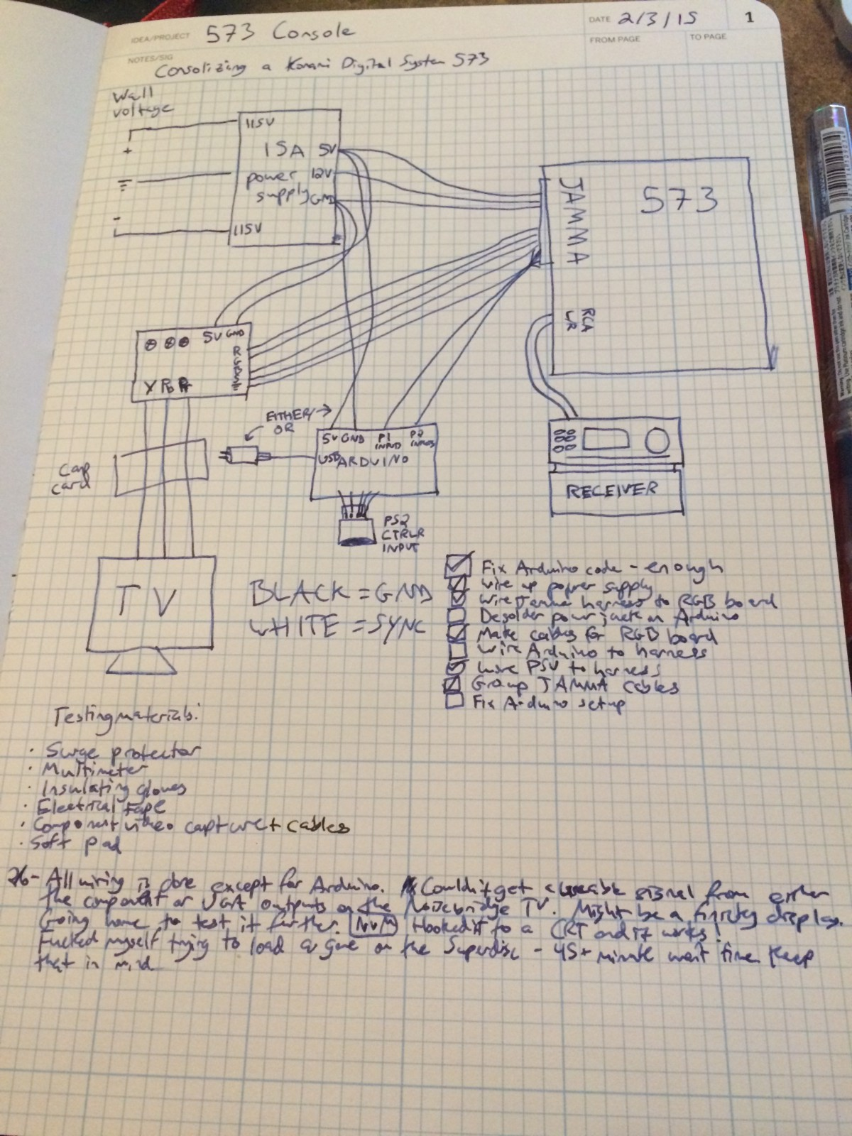 My super detailed schematic & notes for the project.