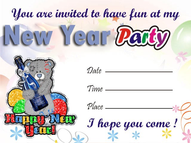 a new year invitation card comprises of the venue and time of the party be that as it may you celebrate with your own gathering you should express your