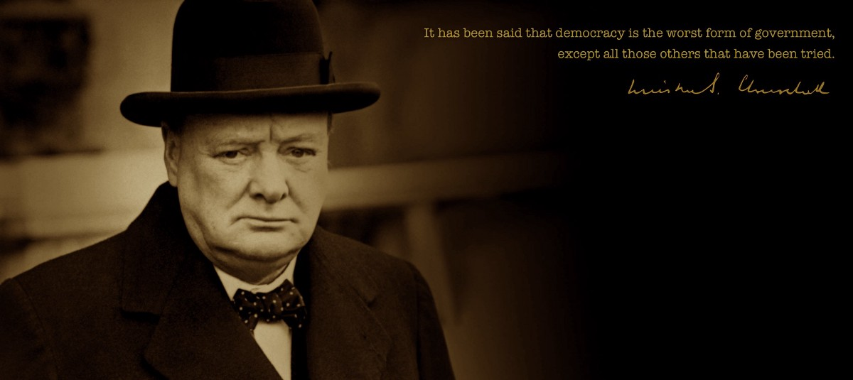 winsotn churchill on democracy The bestargument against democracy is a five minute chat with the average voter winston churchill was the conservative politician who served as the prime minister for britian between (1940 - 1945) and (1951 - 1955.