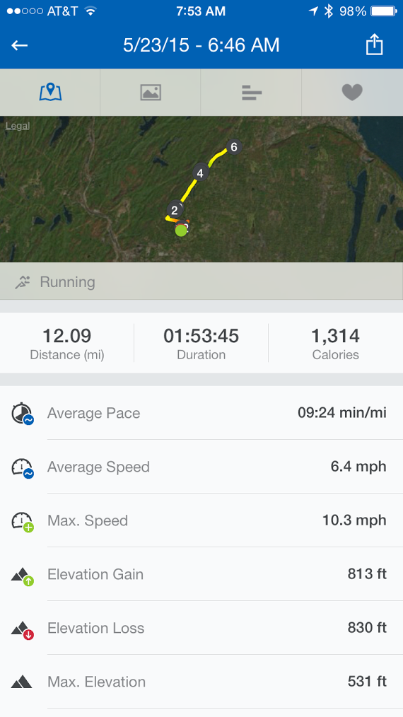 You can see the Apple Watch gets way off after this distance. It calculated  11.54 miles. The GPS enabled Runtastic ...