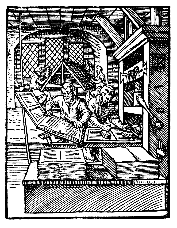 on the technologies of freethought information bubbles and groupthink Thomas Edison Death Mask woodcut of a printer from 1568 public domain wikipedia