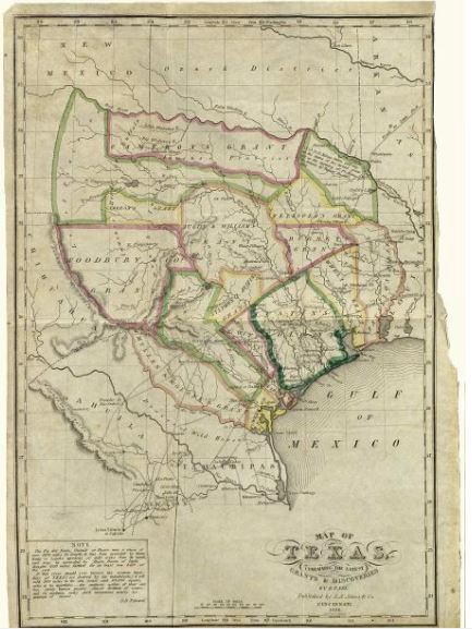 E F Lee Map Of Texas Containing The Latest Grants And Discoveries Cincinnati J A James Co 1836 Map 93855 Holcomb Digital Map Collection
