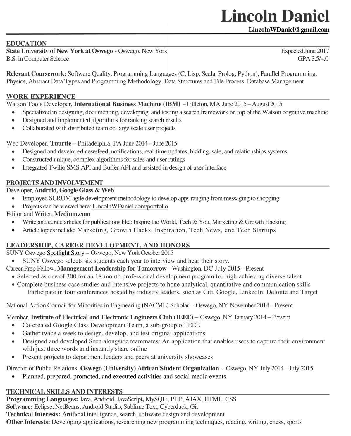 internship resume relevant coursework