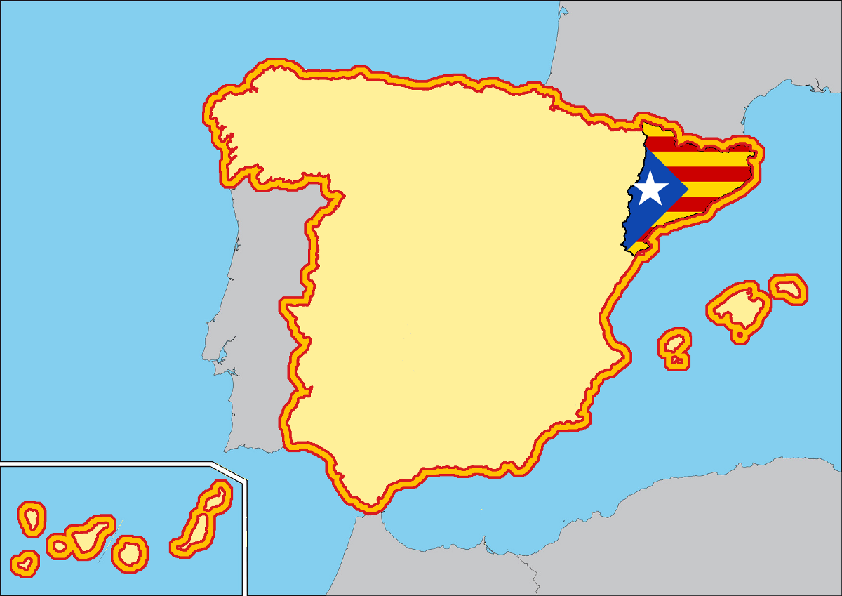 World Map Catalonia. Map of Spain  showing Catalonia filled with the unofficial independence flag Source own elaboration Should be allowed to secede Rafael CM Medium